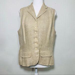 Ralph Lauren VTG 70's Tweed Cream Suit Vest Sz 10